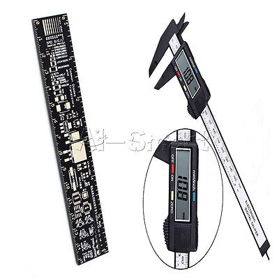LCD Electronic Carbon Fiber Vernier Caliper+PCB Ruler for Electronic Engineers A