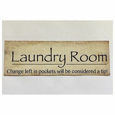 Laundry Room Sign Rustic Home Door Wall Plaque or Hanging Shabby Chic Vintage