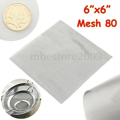 80 Mesh Filtration Stainless Steel 304 Mesh #80 Wire Cloth Screen  6'' x 6''