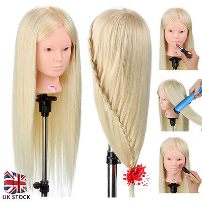 """Cosmetology 50% Real Hair 26"""" Training Head Salon Hairdressing Mannequin + Clamp"""