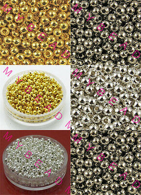 Gold Silver Plated Round Ball Acrylic Jewelry Diy SPACER BEADS 4mm 6mm 8mm
