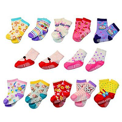 Lystaii Categories 12 Pairs Anti-slip Soft Cotton Baby Kid Socks for 1-3 Years