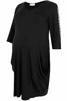 Plus Size Womens Bump It Up Maternity Drape Pocket Cold Shoulder Dress