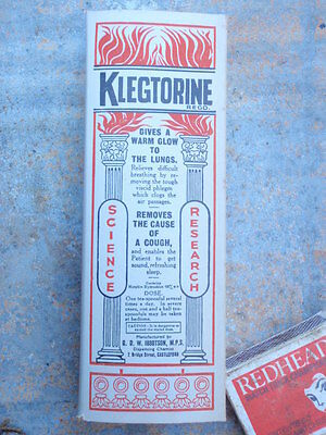 Cough Mixture Cardboard   Box  unused  Klegtorine   U.K.