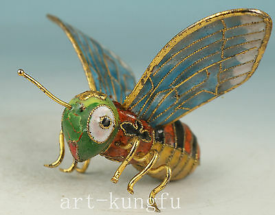 Chinese Old Cloisonne Collection Handmade Carved Bee Statue Figure Have Flaw