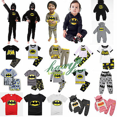 Superhero Batman Toddler Kids Boy Clothes Coat T-Shirt Pants Pyjamas Outfit Set