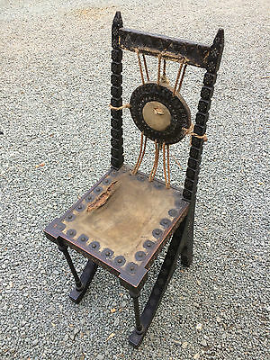 Carlo Bugatti Small Gong Chair. Art Noveau Unrestored Vintage Milan Molsheim