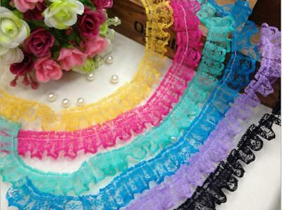 5 Meters Ruffle Unilateral Lace Trim Ribbon 23mm Sewing Wedding Color for Choice