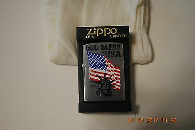 God Bless The Usa Flag Statue Of Liberty Zippo Lighter New In Box