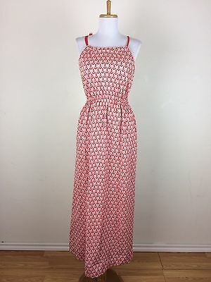 Vintage 1940s Dress Size S M Anchor Nautical Novelty Red White Gown