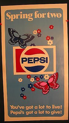 """PEPSI """"SPRING FOR TWO"""" Paper Window Sign  14"""" x 25"""" 1970's  UNUSED"""