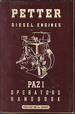 Petter Diesel Engines PAZ1 Original Operators Handbook + Parts List 1954 2086/2