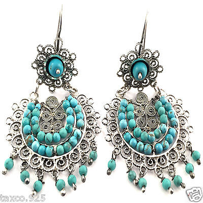 Taxco Mexican 925 Sterling Silver Beaded Bead Turquoise Filigree Earrings Mexico