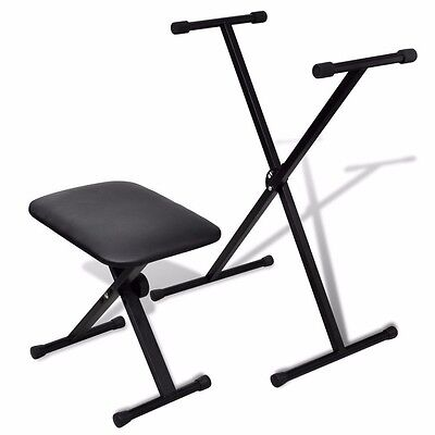 Piano Keyboard Stand and Stool Set Double Braced X Frame Height Adjustable