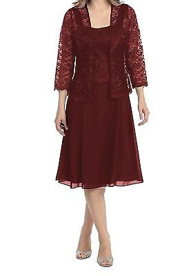 NWT Burgundy Medium Short Evening Mother of the Bride Lace Dress with Jacket