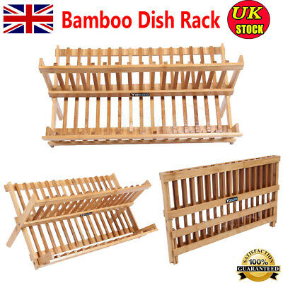 Foldable Healthy BAMBOO Storage Dish Rack Drainer Drying Plate Cups Bowl Holder