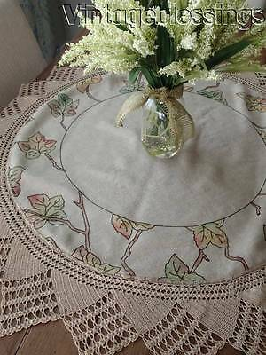 """Authentic Antique c1910 ARTS & CRAFTS Linen Tablecloth Fall Leaf & Branch 40"""""""