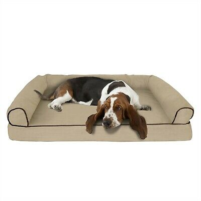 Orthopedic Dog Bed with Comfy Bolster Large XL Dogs Under 90 Pounds 42 x 28