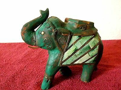 Antique India Hand Carved Wood Bone Inlay Brass Embellishments Elephant Green