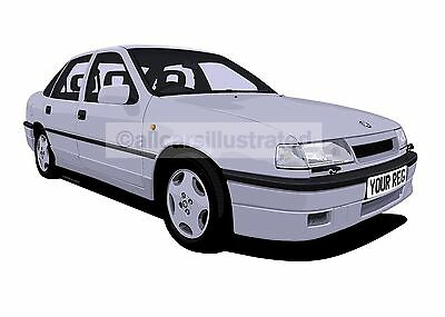 VAUXHALL CAVALIER GSi CAR ART PRINT PICTURE (SIZE A4). PERSONALISE IT!