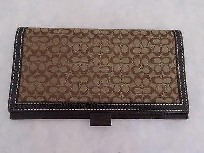 Coach Brown Mini C Signature Jacquard Leather Checkbook Cover Wallet Butter Soft