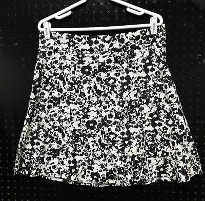 SONOMA Sz Large White Skirt Black Floral Ladies Above Knee A-Line B232