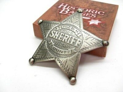 SHERIFF Lincoln County Old West Style STAR Badge Replica Reproduction! MI3006