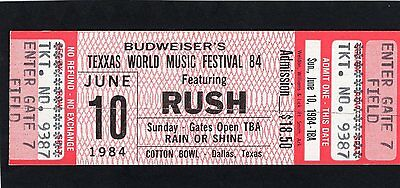 1984 Rush Gary Moore 38 Special unused concert ticket Texxas Jam World Music