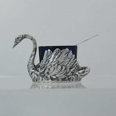 German 800 Fine Solid Silver Swan Salt Cellar Cobalt Glass Insert Sterling Spoon