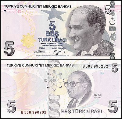 Turkey 5 Lira, 2009, P-222b, UNC