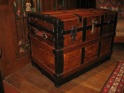 Antique Restored Slat Semi Flat Top Steamer Trunk Stage Coach Chest Coffee Table