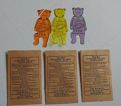 3 Advertising 1920Celluloid Fortune Telling Teddy Bears Bours Royal Tea & Coffee