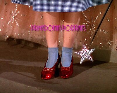 """JUDY GARLAND 8x10 Lab Photo Color 1939 """"WIZARD OF OZ"""" Ruby Red Slippers, Heels"""