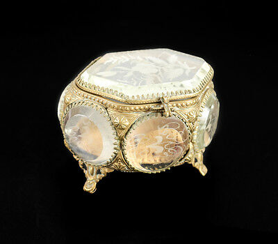 Continental Gilt Brass & Etched Glass Panel Footed Ring Box, 19th Century