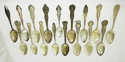 17x Vintage Sterling Silver Large Mixed Souvenir Spoon Lot Various Makers  (Van)