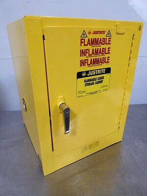 S137169 Justrite 4 Gal. Yellow Flammable Liquid Storage Cabinet w/o Key 25042