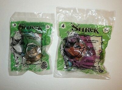 Lot of 2 SHREK Burger King Kids Meals Toys Princess Fiona Dragon Movie Figures