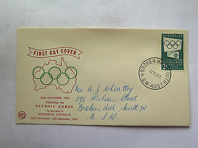 WCS FIRST DAY COVER MELBOURNE 1956 OLYMPIC GAMES 2 Shillings STAMP 30 Nov 1955