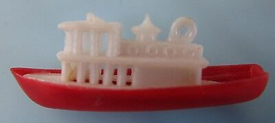 Vintage 1960's Red Cruise Ship Gumball Cracker Jack Toy Charm  Rare!