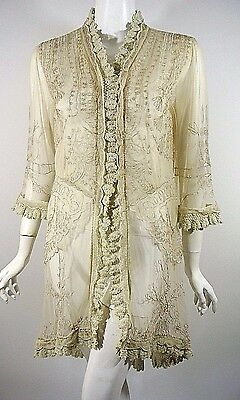 Nataya Jacket Beige Lace Victorian See through Formal cover up Tunic Top L NWT
