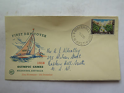 WCS FIRST DAY COVER MELBOURNE 1956 OLYMPIC GAMES 1 Shilling STAMP 31 Oct 1955