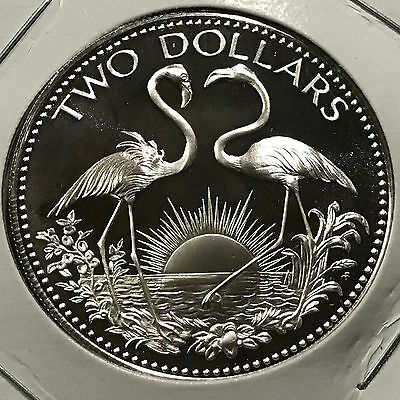 1978 Bahamas Silver Proof Two Dollars Flamingos Uncirculated Coin