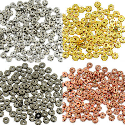 Solid Metal Round Rondelle Slice Bracelet Necklace Connector Charm Beads Jewelry