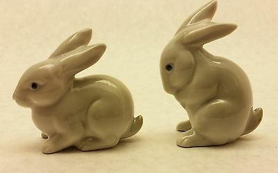 2 vintage greyish white porcelain rabbit figurines - lot of two bunny hare