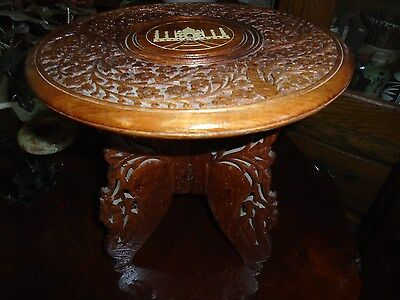 Vintage Hand Carved Indian Sheesham wood three legged folding table