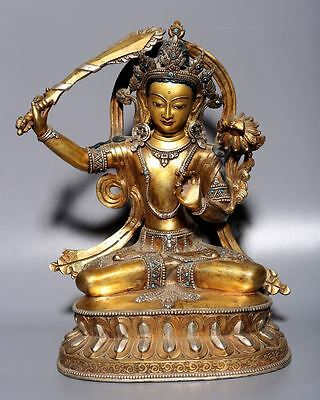 Large Fine Old Chinese Tibetan Bronze Buddha Sitting Statue Collection A17