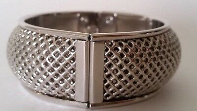 Vintage Sarah Coventry Silver Tone Wire Mesh Cuff Bracelet Signed EUC