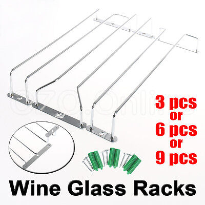 3PCS or 6PCS or 9PCS Wine Rack Glass Holder Hanging Bar Hanger Iron Shelf Free