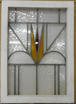 """MID SIZED OLD ENGLISH LEADED STAINED GLASS WINDOW Pretty Geometric 19.5"""" x 27"""""""