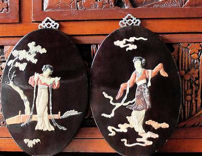 Antique Art Nouveau Chinese Dancing Girls Pair Wall Plaques Plates Jade Stone